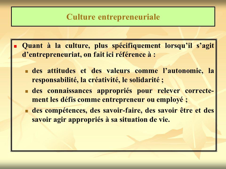 Culture entrepreneuriale  Le mot entrepreneurial peut s'appliquer à plusieurs réalités.