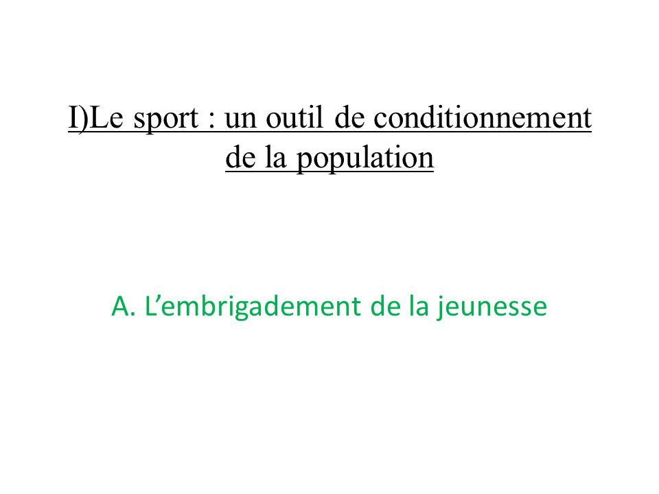 I)Le sport : un outil de conditionnement de la population A. L'embrigadement de la jeunesse