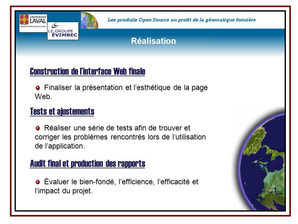 Finaliser la présentation et l'esthétique de la page Web. Finaliser la présentation et l'esthétique de la page Web. Construction de l'interface Web fi