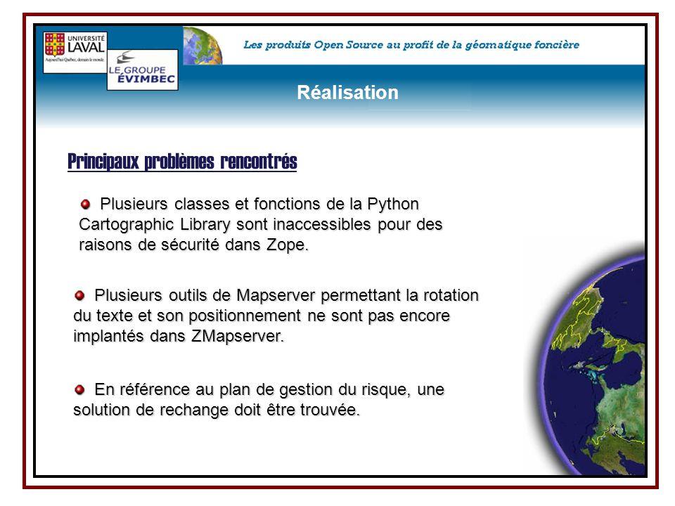 Plusieurs classes et fonctions de la Python Cartographic Library sont inaccessibles pour des raisons de sécurité dans Zope. Plusieurs classes et fonct