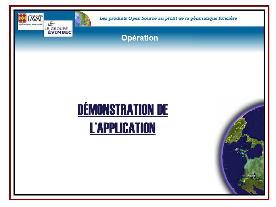 DÉMONSTRATION DE L'APPLICATION Opération