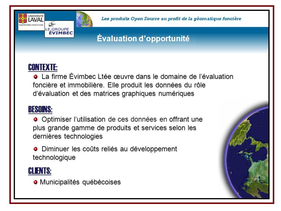 CLIENTS: La firme Évimbec Ltée œuvre dans le domaine de l'évaluation foncière et immobilière. Elle produit les données du rôle d'évaluation et des mat