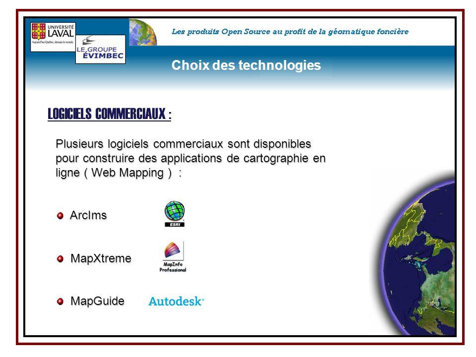 Plusieurs logiciels commerciaux sont disponibles pour construire des applications de cartographie en ligne ( Web Mapping ) : ArcIms MapXtreme MapGuide