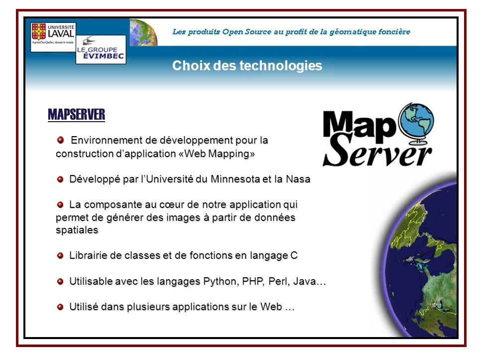 Environnement de développement pour la Environnement de développement pour la construction d'application «Web Mapping» Développé par l'Université du M