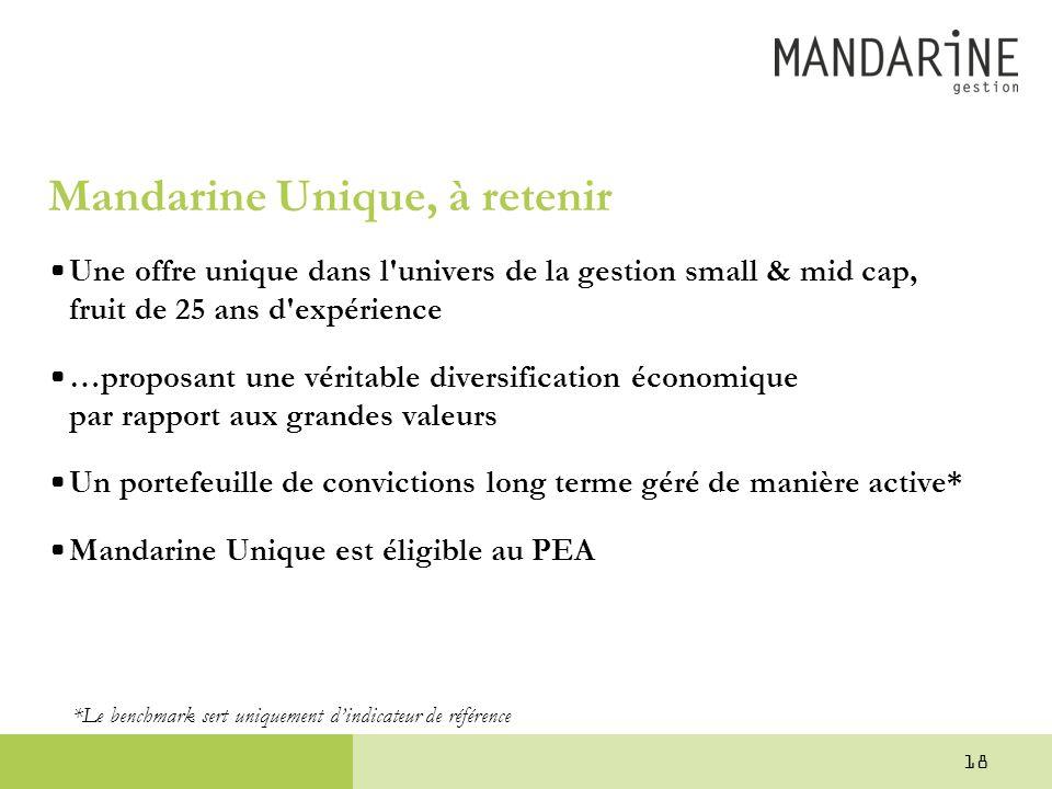 Mandarine Unique, à retenir •Une offre unique dans l'univers de la gestion small & mid cap, fruit de 25 ans d'expérience •…proposant une véritable div