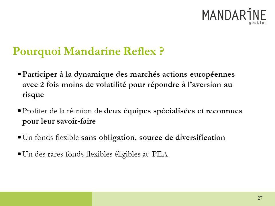 27 Pourquoi Mandarine Reflex ? •Participer à la dynamique des marchés actions européennes avec 2 fois moins de volatilité pour répondre à l'aversion a