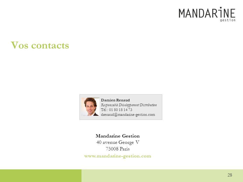 Vos contacts Mandarine Gestion 40 avenue George V 75008 Paris www.mandarine-gestion.com Damien Renaud Responsable Développement Distribution Tél : 01