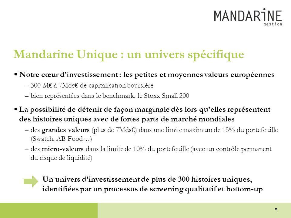 Mandarine Unique : un univers spécifique •Notre cœur d'investissement : les petites et moyennes valeurs européennes –300 M€ à 7Mds€ de capitalisation