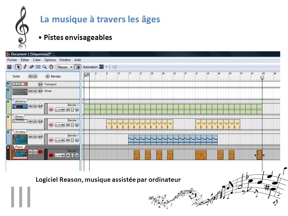 La musique à travers les âges • Pistes envisageables Logiciel Reason, musique assistée par ordinateur III
