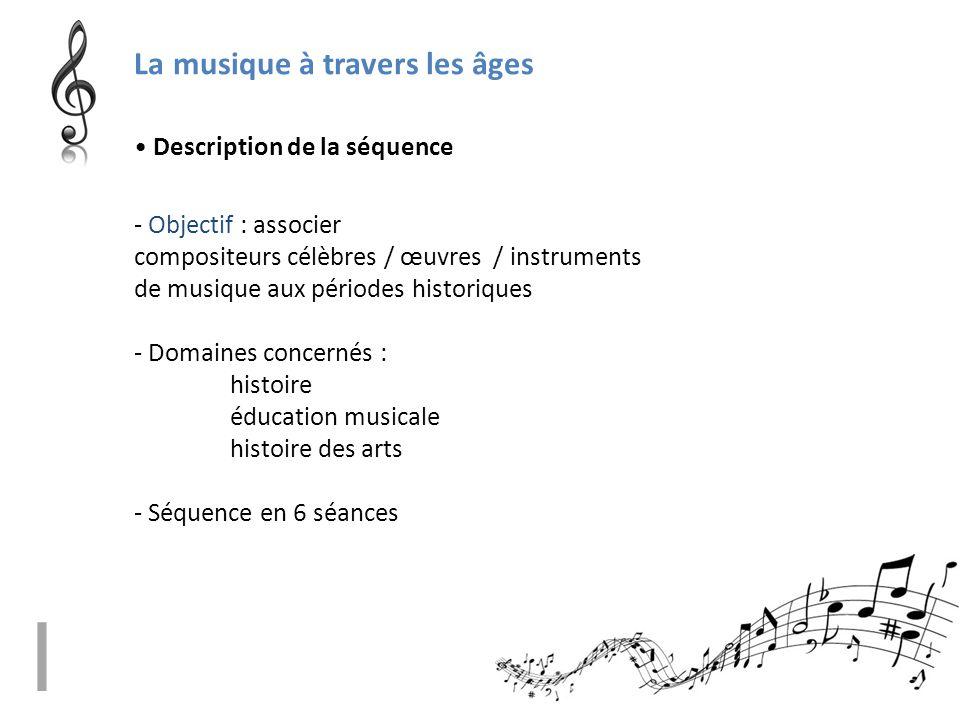 La musique à travers les âges - Objectif : associer compositeurs célèbres / œuvres / instruments de musique aux périodes historiques - Domaines concer