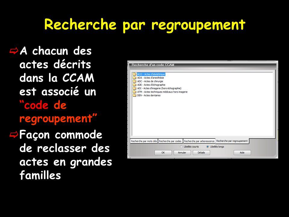 """Recherche par regroupement  A chacun des actes décrits dans la CCAM est associé un """"code de regroupement""""  Façon commode de reclasser des actes en g"""