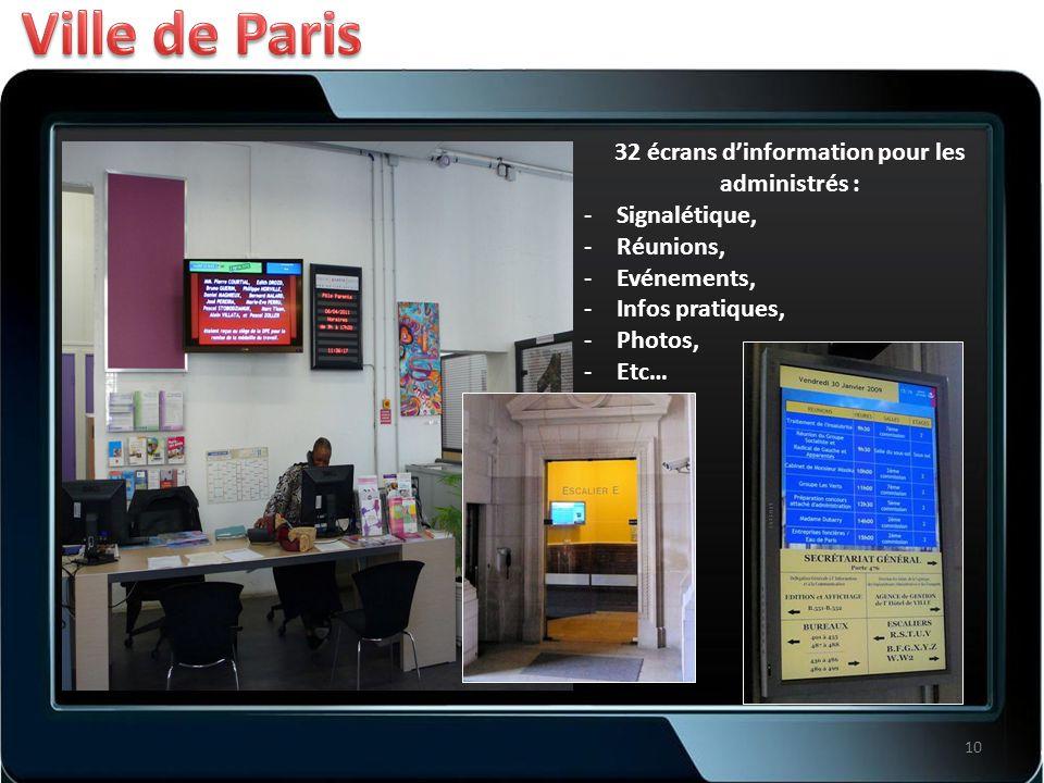 32 écrans d'information pour les administrés : -Signalétique, -Réunions, -Evénements, -Infos pratiques, -Photos, -Etc… 10
