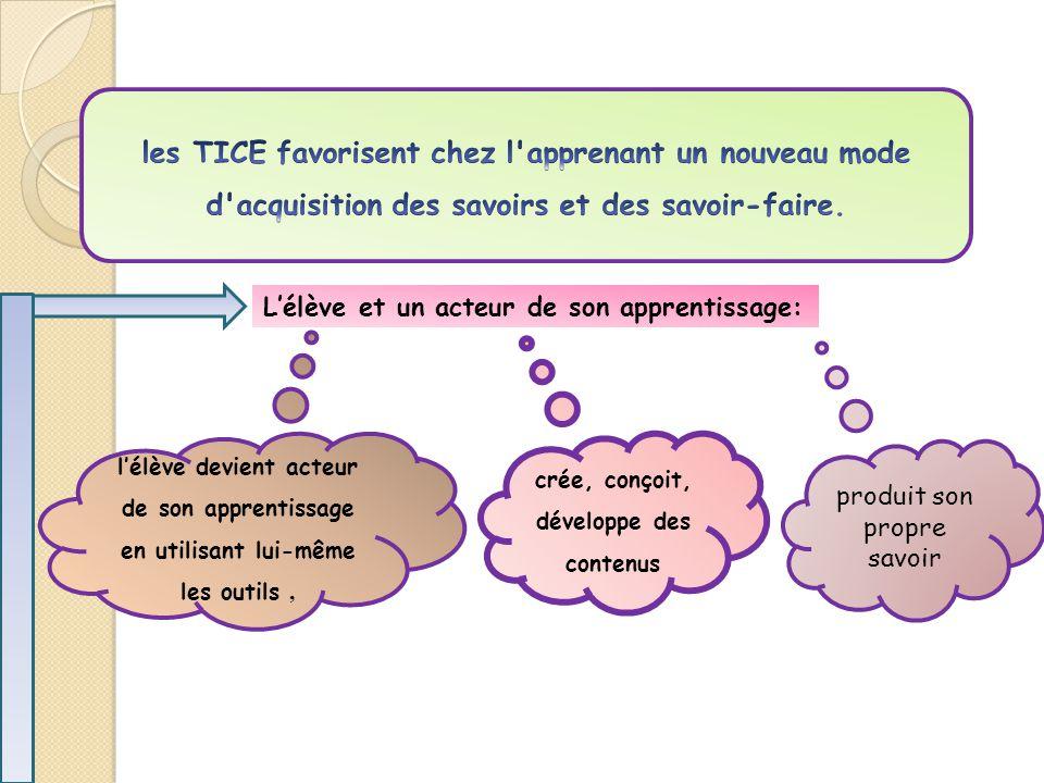 L'élève et un acteur de son apprentissage: l'élève devient acteur de son apprentissage en utilisant lui-même les outils, crée, conçoit, développe des contenus produit son propre savoir