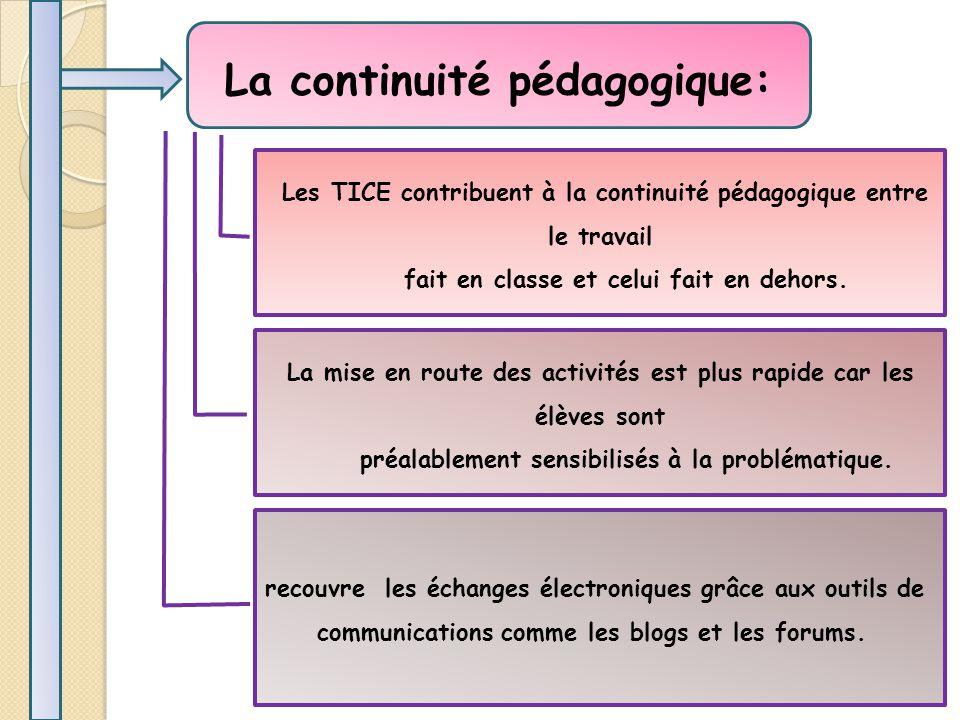 La continuité pédagogique: Les TICE contribuent à la continuité pédagogique entre le travail fait en classe et celui fait en dehors.