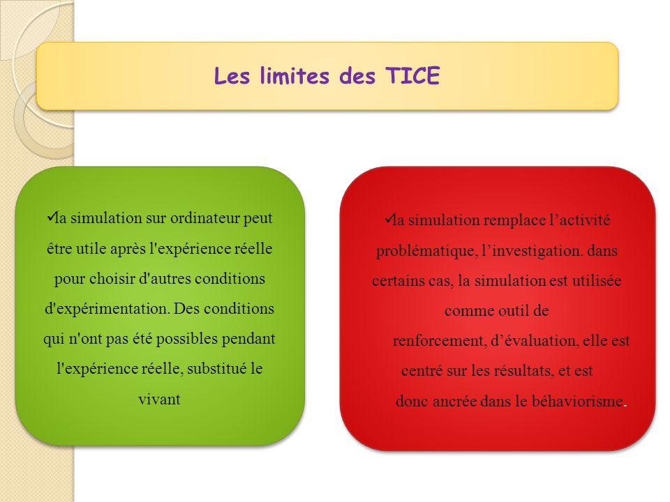 Les limites des TICE  la simulation sur ordinateur peut être utile après l expérience réelle pour choisir d autres conditions d expérimentation.