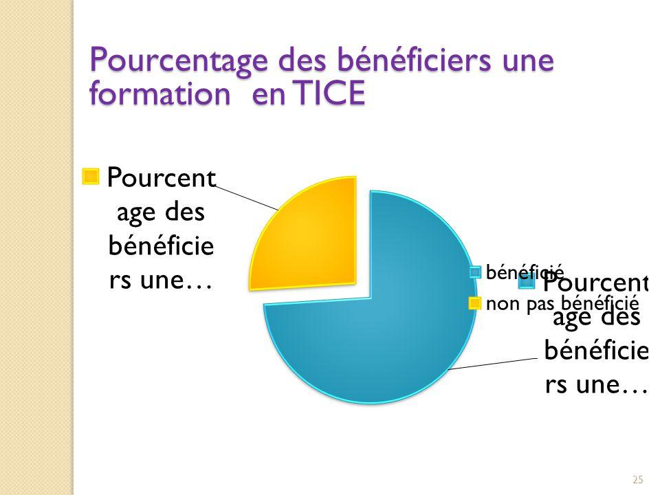 Pourcentage des bénéficiers une formation en TICE 25