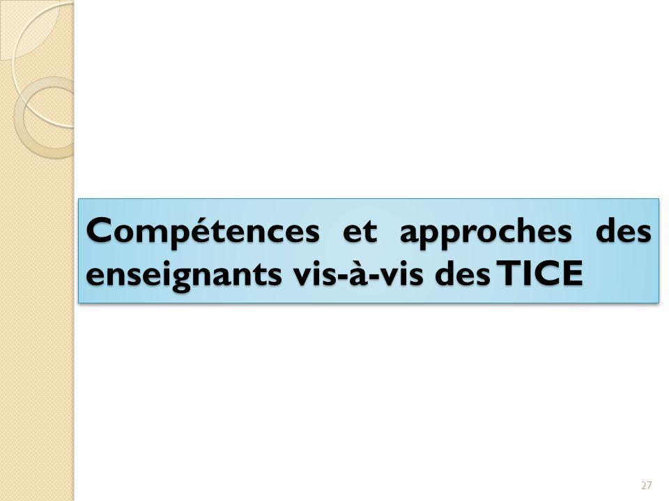Compétences et approches des enseignants vis-à-vis des TICE 27