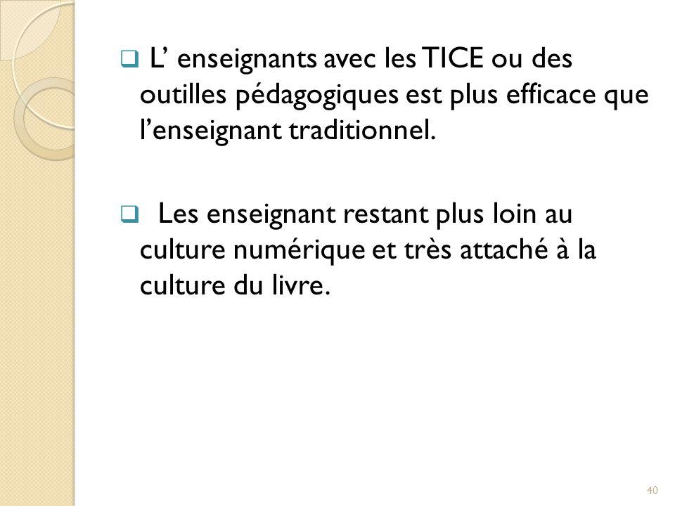  L' enseignants avec les TICE ou des outilles pédagogiques est plus efficace que l'enseignant traditionnel.
