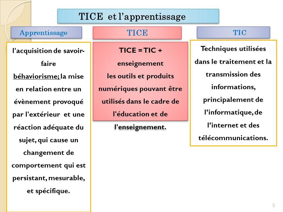 TICE TICE = TIC + enseignement les outils et produits numériques pouvant être utilisés dans le cadre de l éducation et de l enseignement.