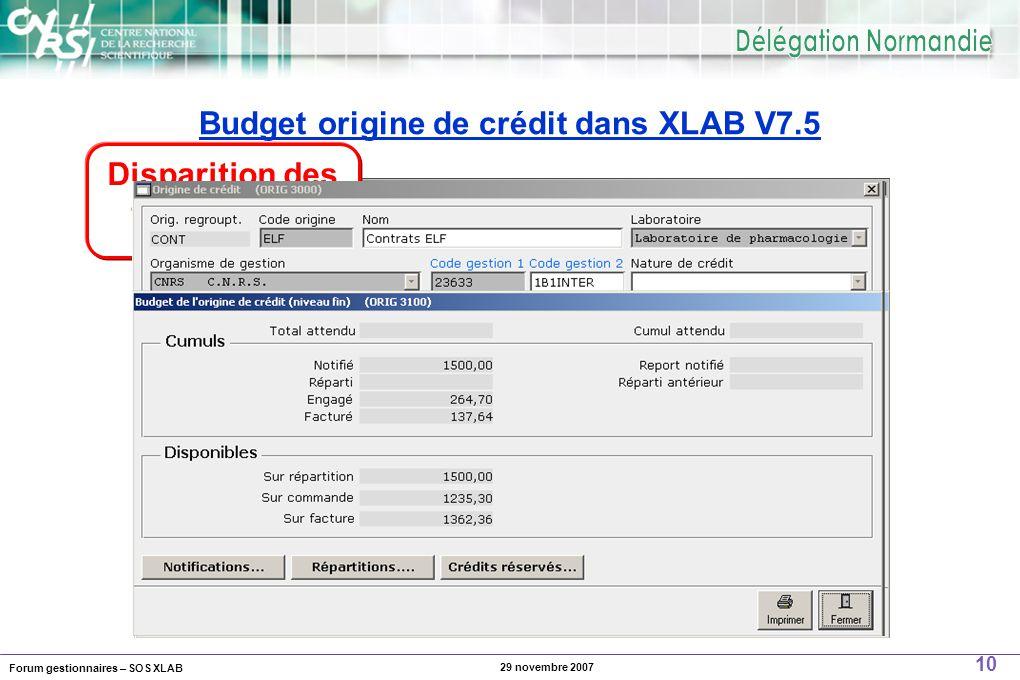Forum gestionnaires – SOS XLAB 10 29 novembre 2007 Budget origine de crédit dans XLAB V7.5 Disparition des taux de TVA