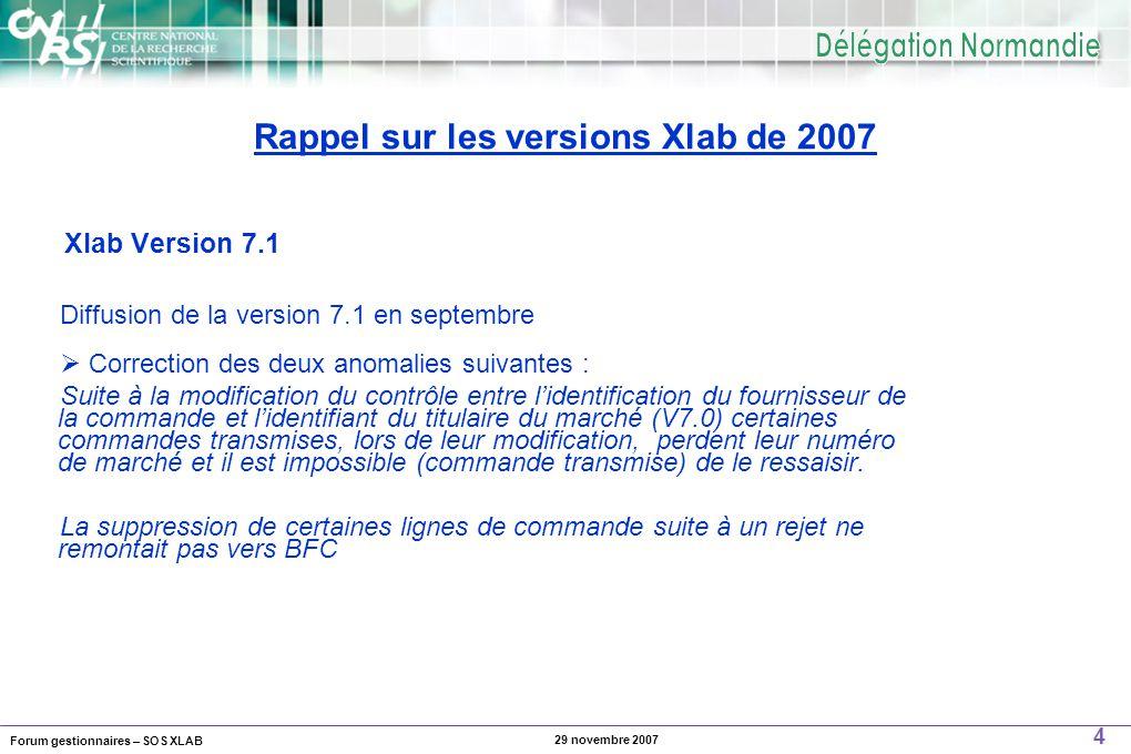 Forum gestionnaires – SOS XLAB 5 29 novembre 2007  Possibilité de marquer des agents pour les envoyer vers BFC indépendamment d'une mission.