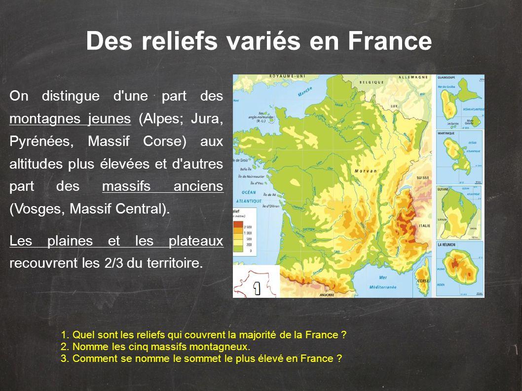 On distingue d une part des montagnes jeunes (Alpes; Jura, Pyrénées, Massif Corse) aux altitudes plus élevées et d autres part des massifs anciens (Vosges, Massif Central).