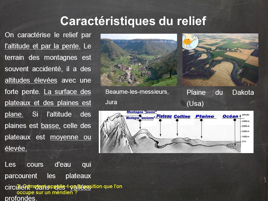 Caractéristiques du relief On caractérise le relief par l altitude et par la pente.