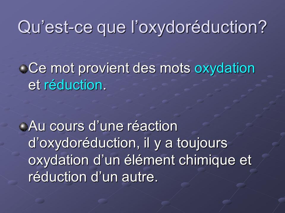 Qu'est-ce que l'oxydoréduction? Ce mot provient des mots oxydation et réduction. Au cours d'une réaction d'oxydoréduction, il y a toujours oxydation d