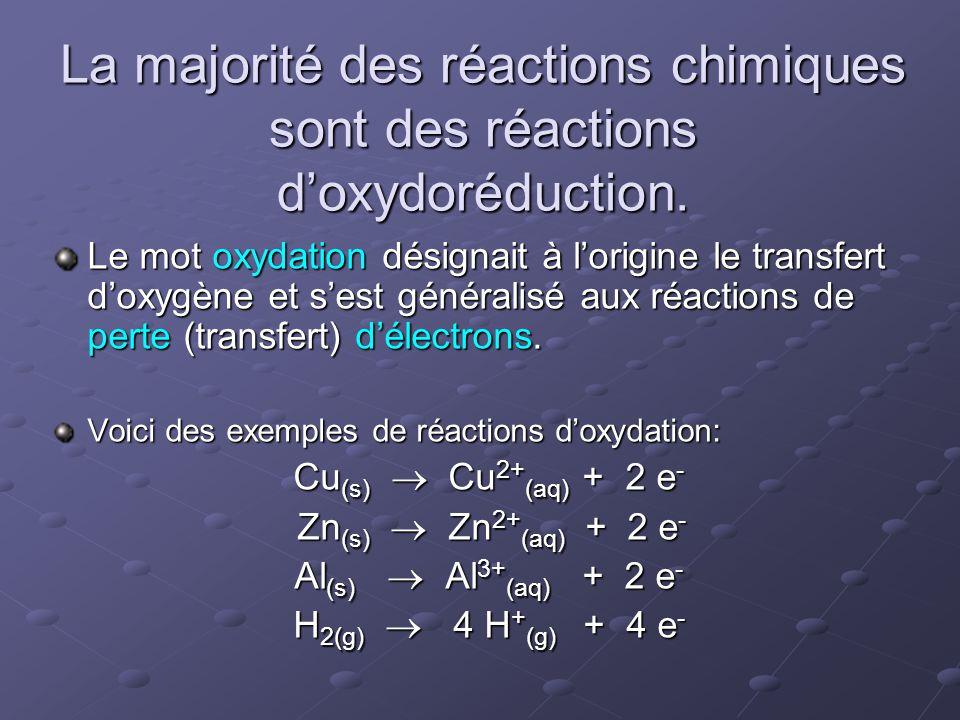 La majorité des réactions chimiques sont des réactions d'oxydoréduction. Le mot oxydation désignait à l'origine le transfert d'oxygène et s'est généra