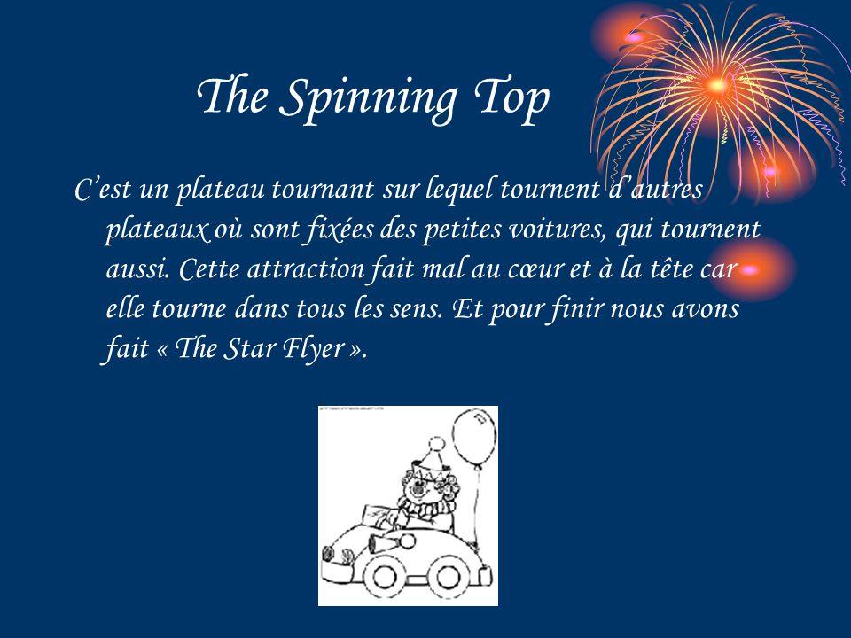 The Spinning Top C'est un plateau tournant sur lequel tournent d'autres plateaux où sont fixées des petites voitures, qui tournent aussi. Cette attrac