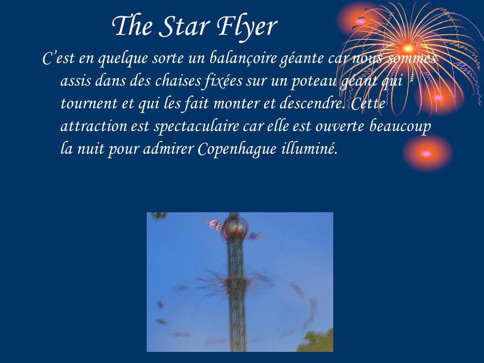 The Star Flyer C'est en quelque sorte un balançoire géante car nous sommes assis dans des chaises fixées sur un poteau géant qui tournent et qui les fait monter et descendre.
