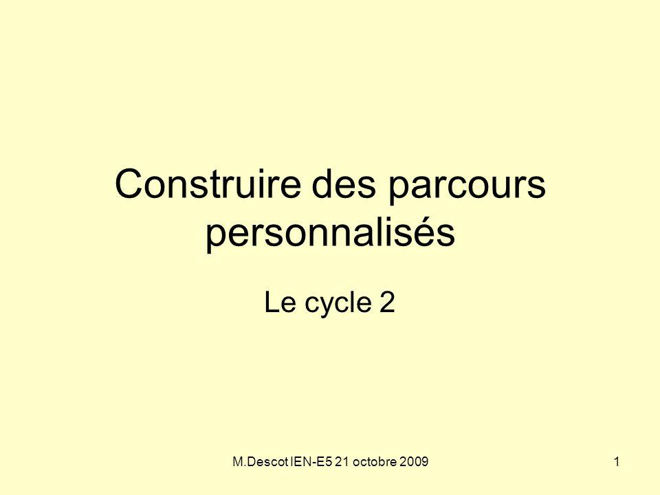 M.Descot IEN-E5 21 octobre 2009 Construire des parcours personnalisés Le cycle 2 1