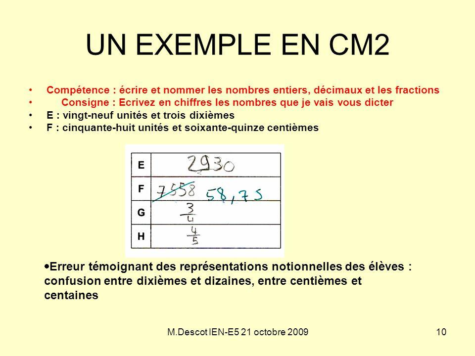 M.Descot IEN-E5 21 octobre 2009 UN EXEMPLE EN CM2 •Compétence : écrire et nommer les nombres entiers, décimaux et les fractions • Consigne : Ecrivez e