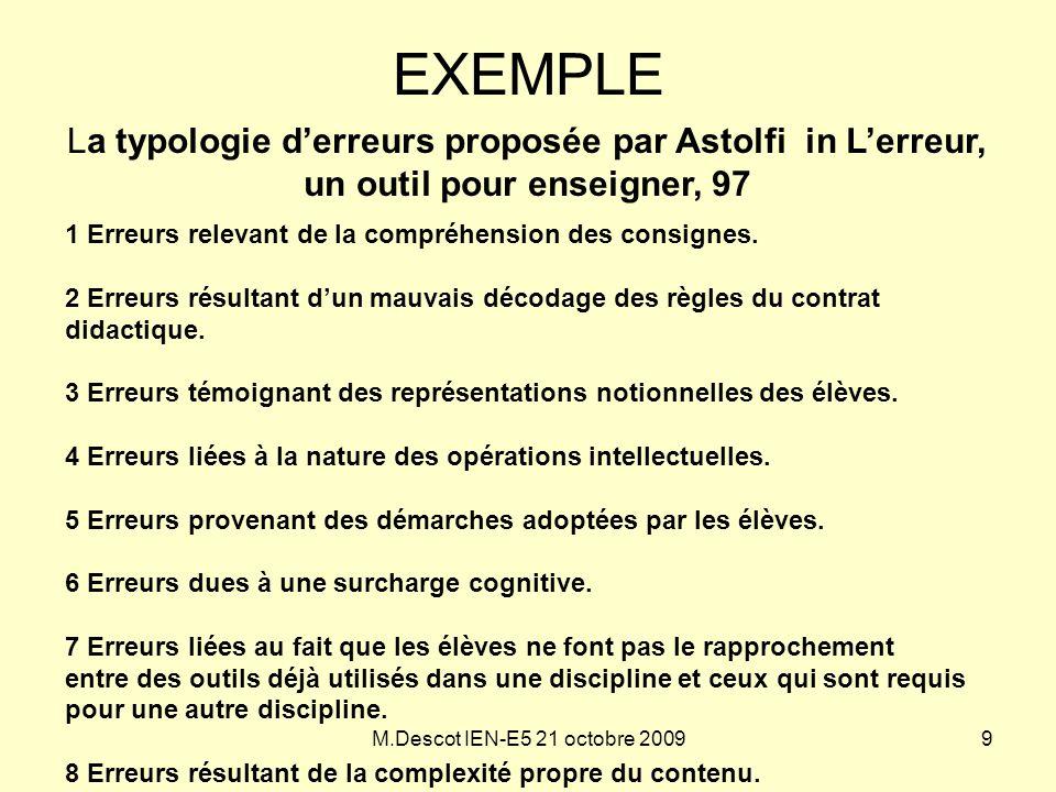 M.Descot IEN-E5 21 octobre 2009 EXEMPLE La typologie d'erreurs proposée par Astolfi in L'erreur, un outil pour enseigner, 97 1 Erreurs relevant de la