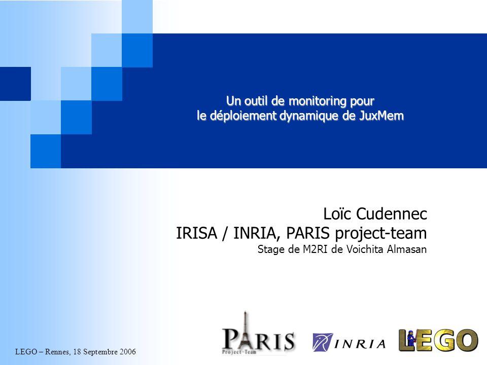 LEGO – Rennes, 18 Septembre 2006 Un outil de monitoring pour le déploiement dynamique de JuxMem Loïc Cudennec IRISA / INRIA, PARIS project-team Stage de M2RI de Voichita Almasan