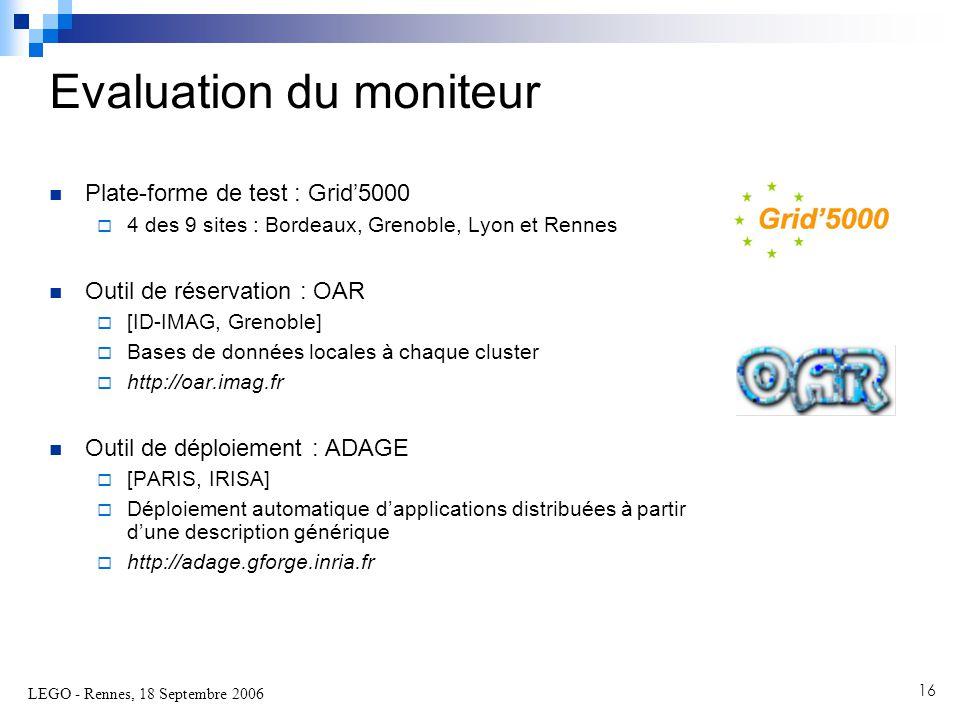 LEGO - Rennes, 18 Septembre 2006 16  Plate-forme de test : Grid'5000  4 des 9 sites : Bordeaux, Grenoble, Lyon et Rennes  Outil de réservation : OAR  [ID-IMAG, Grenoble]  Bases de données locales à chaque cluster  http://oar.imag.fr  Outil de déploiement : ADAGE  [PARIS, IRISA]  Déploiement automatique d'applications distribuées à partir d'une description générique  http://adage.gforge.inria.fr Evaluation du moniteur