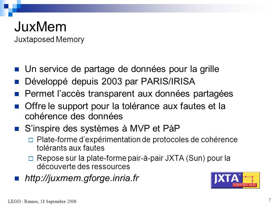 LEGO - Rennes, 18 Septembre 2006 7  Un service de partage de données pour la grille  Développé depuis 2003 par PARIS/IRISA  Permet l'accès transparent aux données partagées  Offre le support pour la tolérance aux fautes et la cohérence des données  S'inspire des systèmes à MVP et PàP  Plate-forme d'expérimentation de protocoles de cohérence tolérants aux fautes  Repose sur la plate-forme pair-à-pair JXTA (Sun) pour la découverte des ressources  http://juxmem.gforge.inria.fr JuxMem Juxtaposed Memory