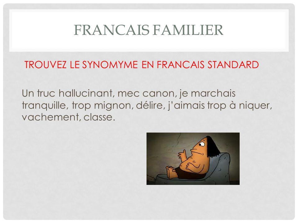 FRANCAIS FAMILIER TROUVEZ LE SYNOMYME EN FRANCAIS STANDARD Un truc hallucinant, mec canon, je marchais tranquille, trop mignon, délire, j'aimais trop