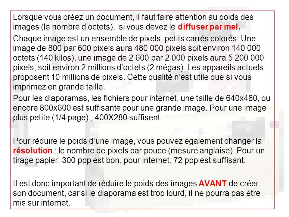 Lorsque vous créez un document, il faut faire attention au poids des images (le nombre d'octets), si vous devez le diffuser par mel.