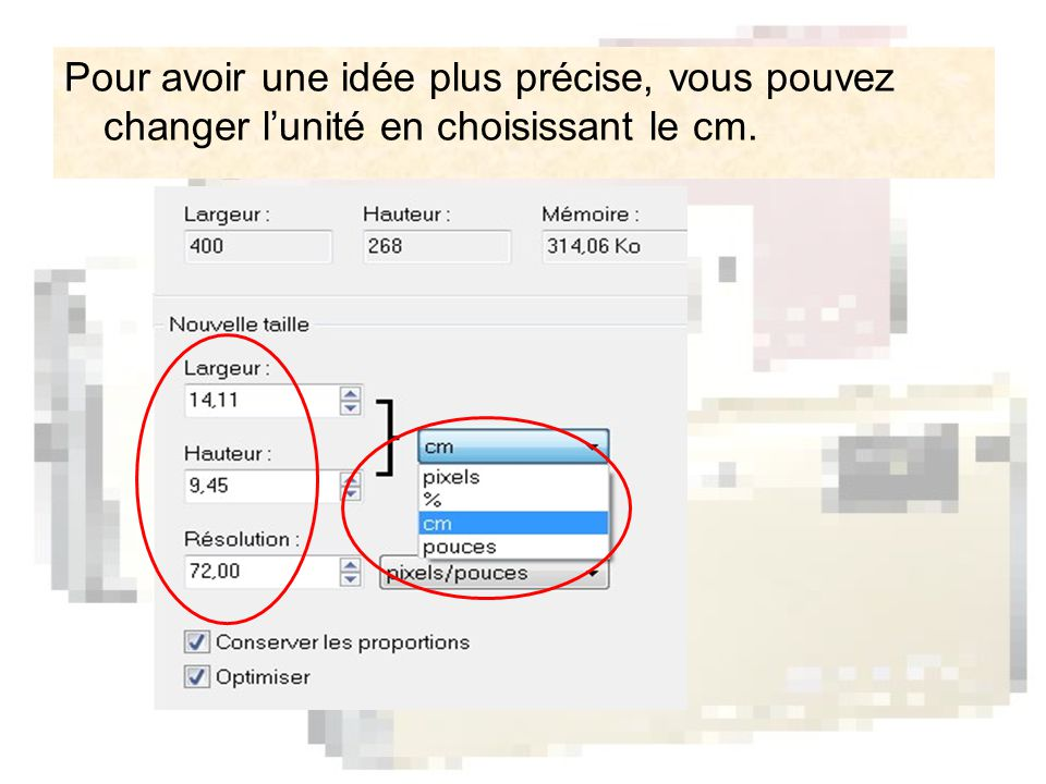 Vous enregistrez votre image modifiée.Cliquez sur le petit triangle pour changer le type.