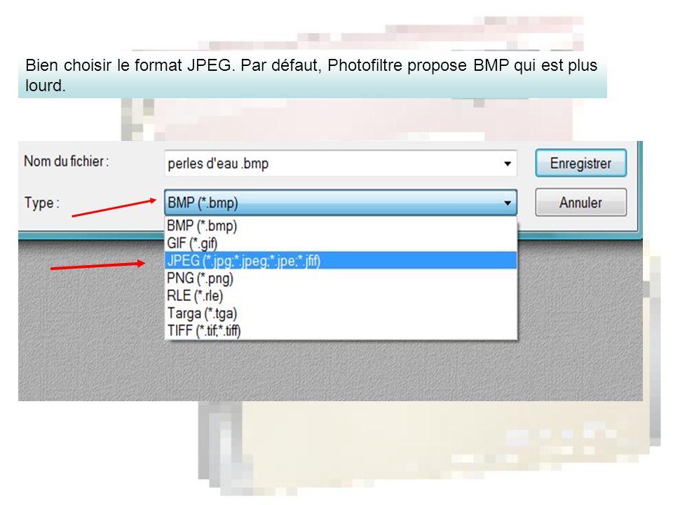 Bien choisir le format JPEG. Par défaut, Photofiltre propose BMP qui est plus lourd.