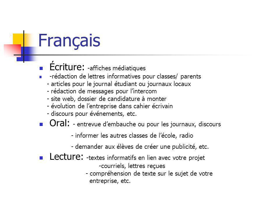 Français  Écriture: -affiches médiatiques  -rédaction de lettres informatives pour classes/ parents - articles pour le journal étudiant ou journaux