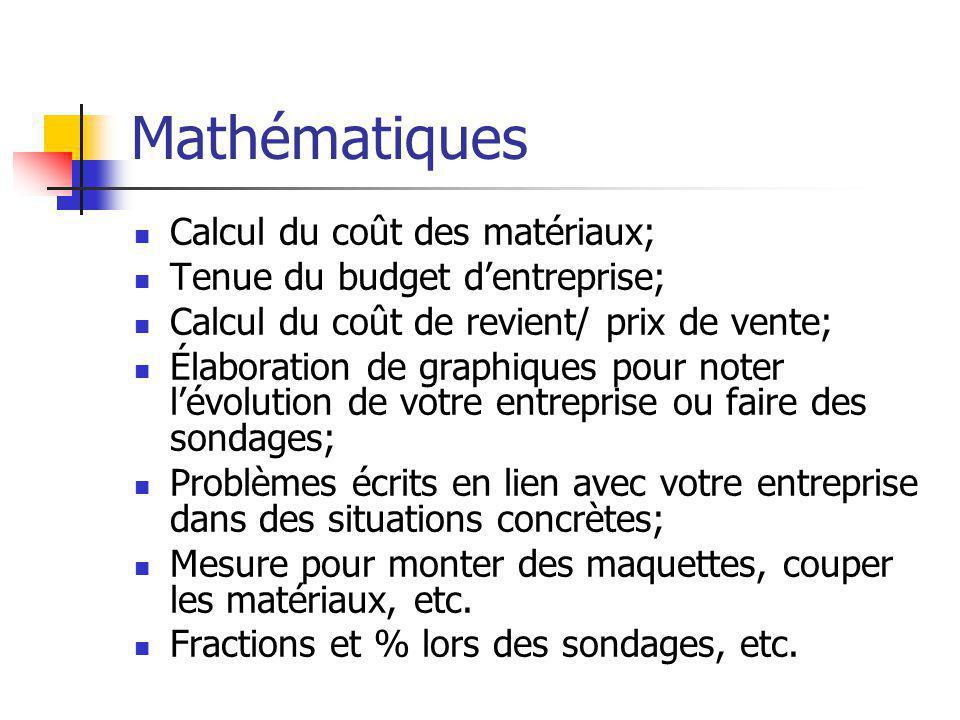 Mathématiques  Calcul du coût des matériaux;  Tenue du budget d'entreprise;  Calcul du coût de revient/ prix de vente;  Élaboration de graphiques