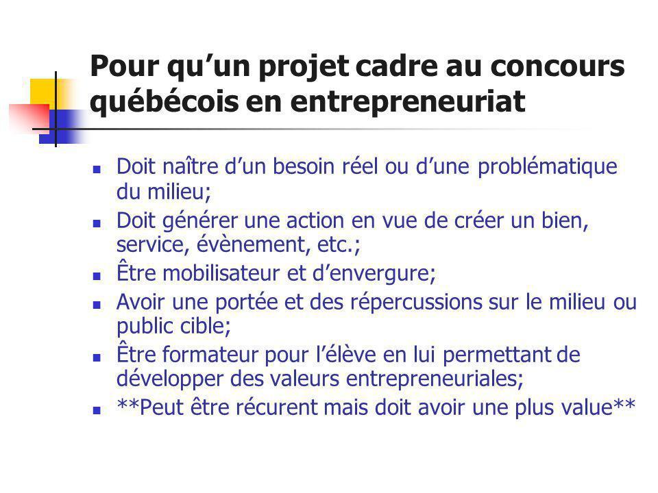 Pour qu'un projet cadre au concours québécois en entrepreneuriat  Doit naître d'un besoin réel ou d'une problématique du milieu;  Doit générer une a