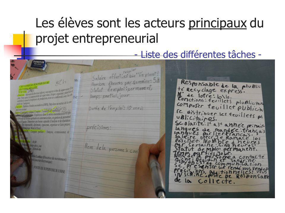 Les élèves sont les acteurs principaux du projet entrepreneurial - Liste des différentes tâches -