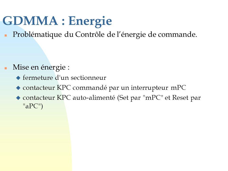 GDMMA : Energie n Problématique du Contrôle de l'énergie de commande. n Mise en énergie : u fermeture d'un sectionneur u contacteur KPC commandé par u