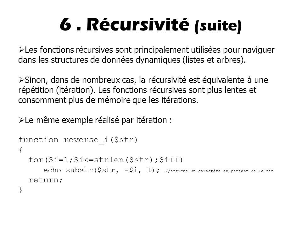 6. Récursivité (suite)  Les fonctions récursives sont principalement utilisées pour naviguer dans les structures de données dynamiques (listes et arb