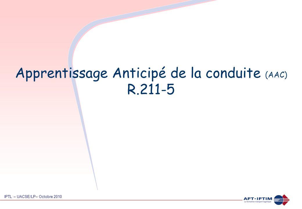 Apprentissage Anticipé de la conduite (AAC) R.211-5 IPTL – UACSE/LP– Octobre 2010