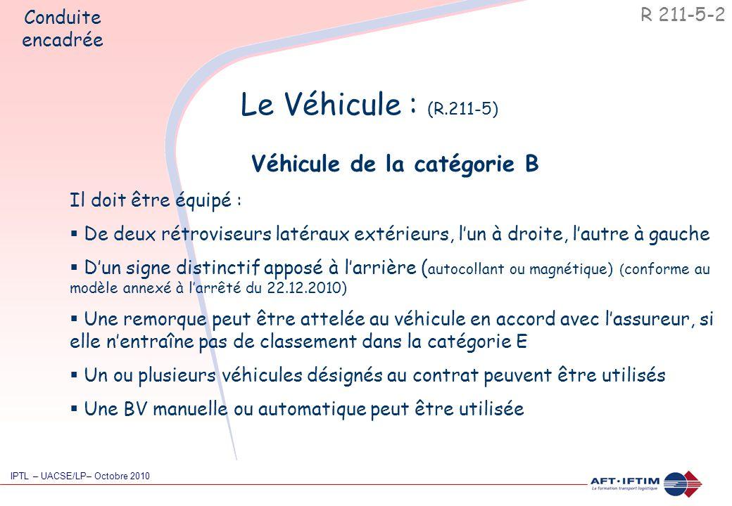 Le Véhicule : (R.211-5) Véhicule de la catégorie B Il doit être équipé :  De deux rétroviseurs latéraux extérieurs, l'un à droite, l'autre à gauche  D'un signe distinctif apposé à l'arrière ( autocollant ou magnétique) ( conforme au modèle annexé à l'arrêté du 22.12.2010)  Une remorque peut être attelée au véhicule en accord avec l'assureur, si elle n'entraîne pas de classement dans la catégorie E  Un ou plusieurs véhicules désignés au contrat peuvent être utilisés  Une BV manuelle ou automatique peut être utilisée R 211-5-2 Conduite encadrée IPTL – UACSE/LP– Octobre 2010