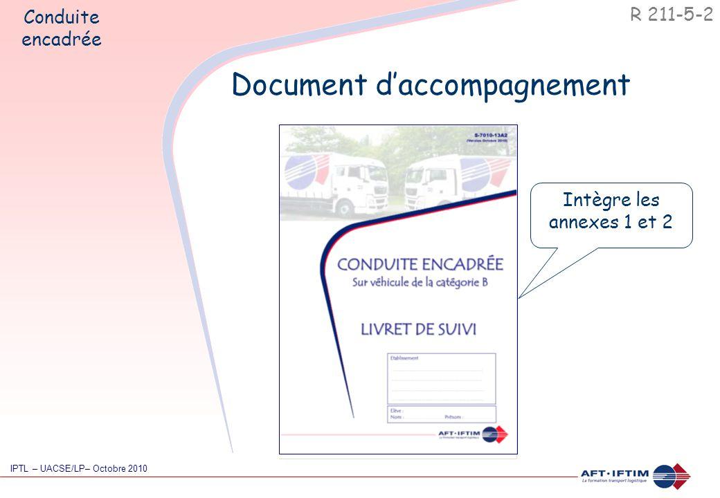 R 211-5-2 IPTL – UACSE/LP– Octobre 2010 Document d'accompagnement Conduite encadrée Intègre les annexes 1 et 2